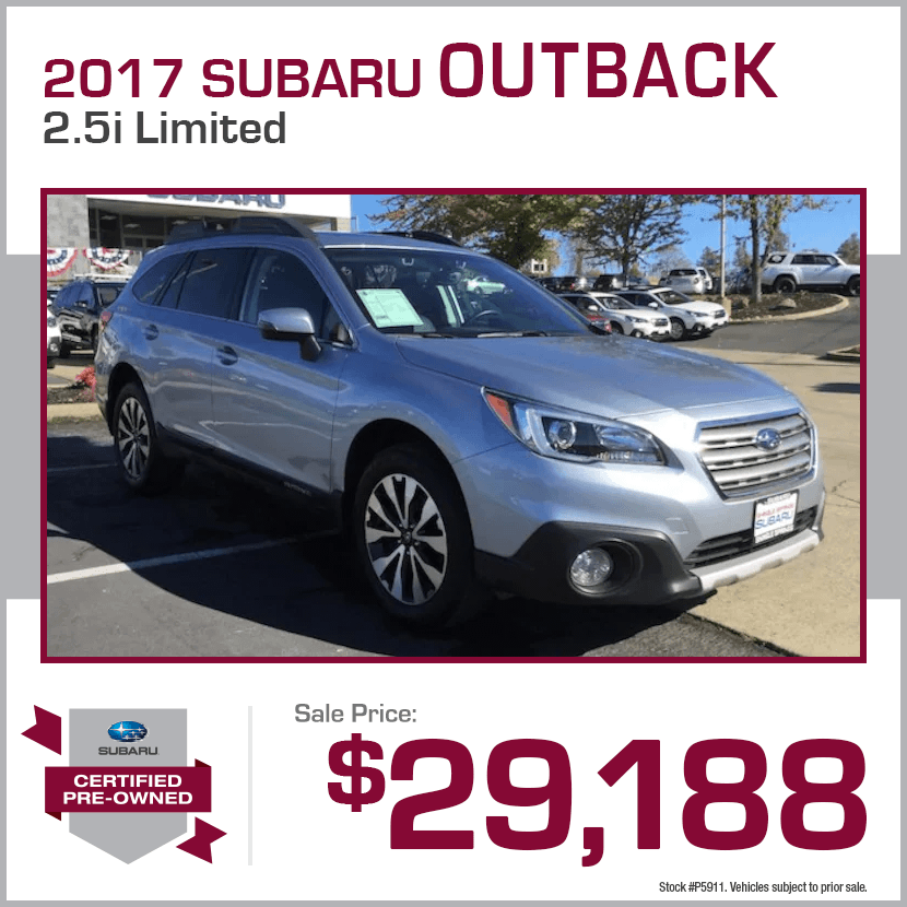2017 CPO Subaru Outback 2.5i Limited Certified Pre-Owned Special in Shingle Springs, CA
