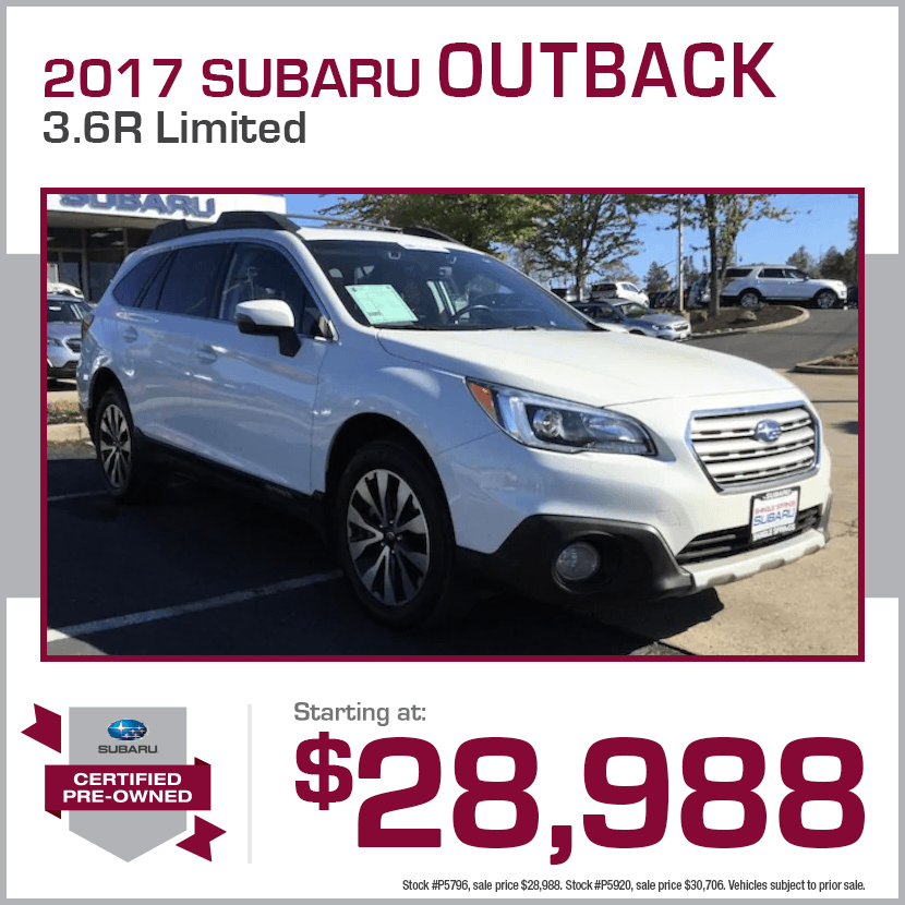 2017 CPO Subaru Outback 3.6R Limited Certified Pre-Owned Special in Shingle Springs, CA