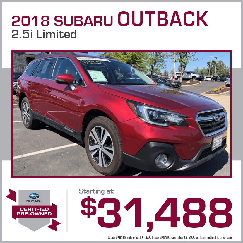 2018 CPO Subaru Outback 2.5i Limited Certified Pre-Owned Special in Shingle Springs, CA