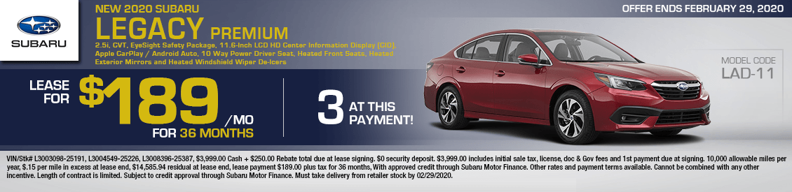 2020 Subaru Legacy Premium Lease Special in Shingle Springs, CA