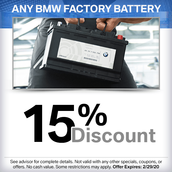 Save on a genuine BMW factory approved battery from parts department at our Torrance, CA location.