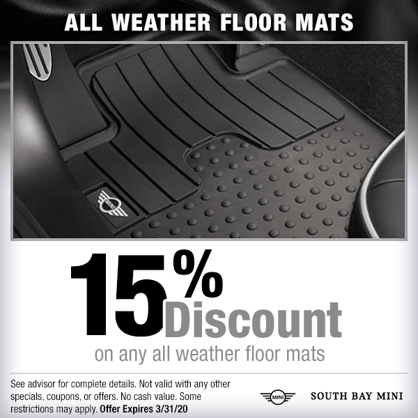 15% discount on any ALL weather floor mats parts special at South Bay MINI in Torrance, CA