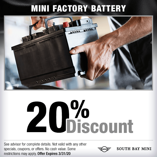 20% discount MINI factory battery parts special at South Bay MINI in Torrance, CA