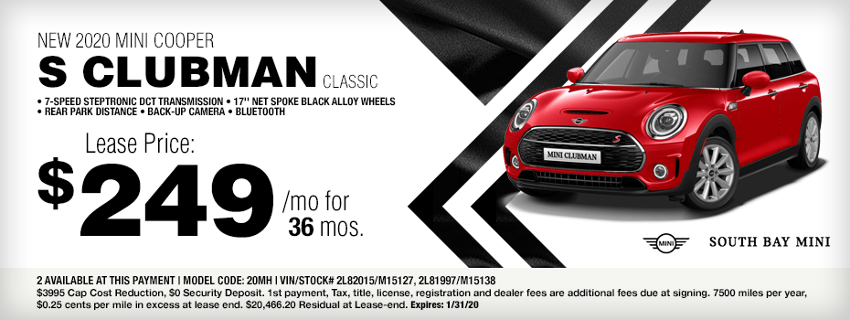 2020 MINI Cooper S Clubman Special Lease Savings in Torrance, CA