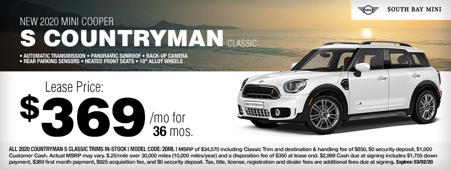 2020 MINI Cooper S Countryman Special Lease Savings in Torrance, CA