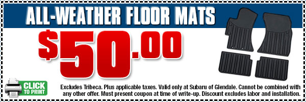 Subaru All-Weather Rubber Floor Mats Discount Coupon | Los