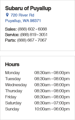 Subaru of Puyallup Sales Hours and Location Washington