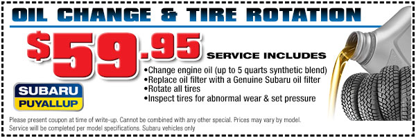 Puyallup Subaru Oil & Filter Change Service Special serving Seattle, WA