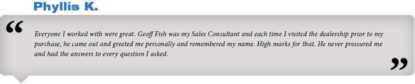 We appreciate our customers - read what Phyllis K says about Subaru of San Bernardino