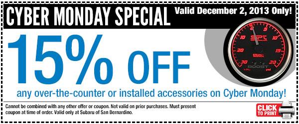 Subaru Cyber Monday Parts Special Offer San Bernardino Ca