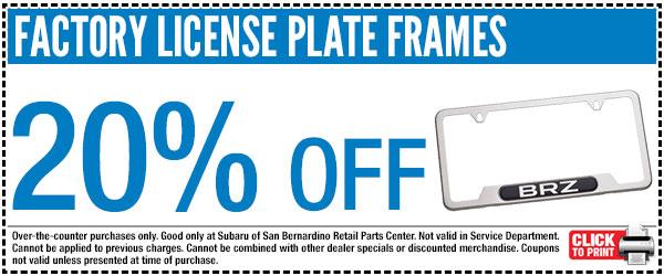 subaru license plate frame parts special