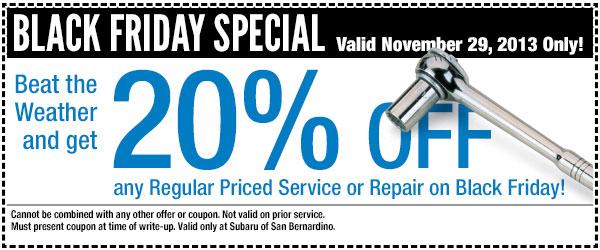 San Bernardino Subaru Black Friday Discount Service Special