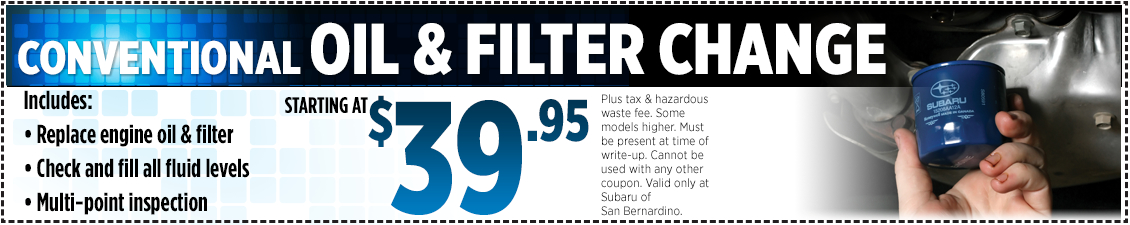 Subaru Conventional Oil & Filter Change Service Special in San Bernardino, CA