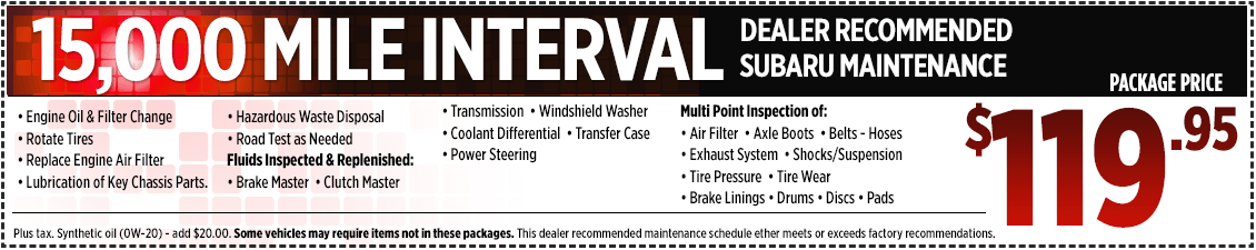 Get a discount on your 15,000 mile interval service in San Bernardino, CA