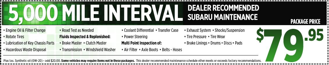 Subaru 5,000-mile Interval Service Service Special in San Bernardino, CA