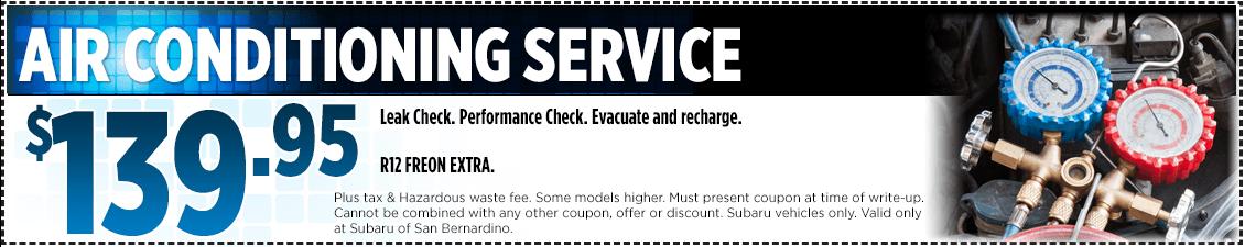 Subaru Air Conditioning Service Special in San Bernardino, CA