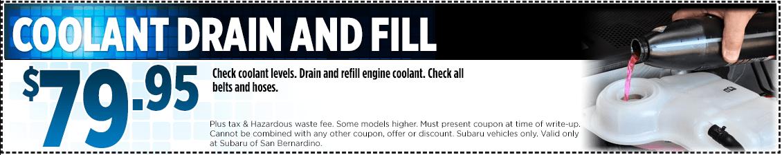 Subaru Coolant Drain and Fill Service Special in San Bernardino, CA