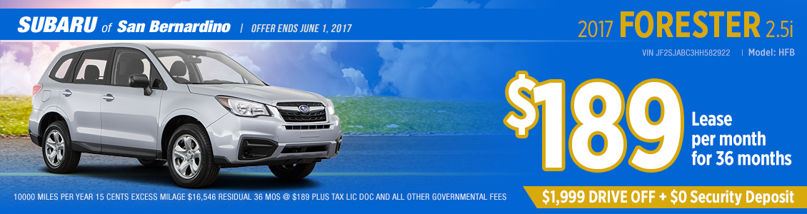 Click to view our 2017 Subaru Forester 2.5i Lease Special in San Bernardino, CA