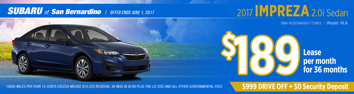 Click to view our 2017 Subaru Impreza 2.0i Sedan Lease Special in San Bernardino, CA