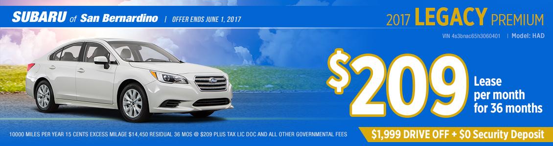 Click to view our 2017 Subaru Legacy 2.5i Premium Lease Special in San Bernardino, CA