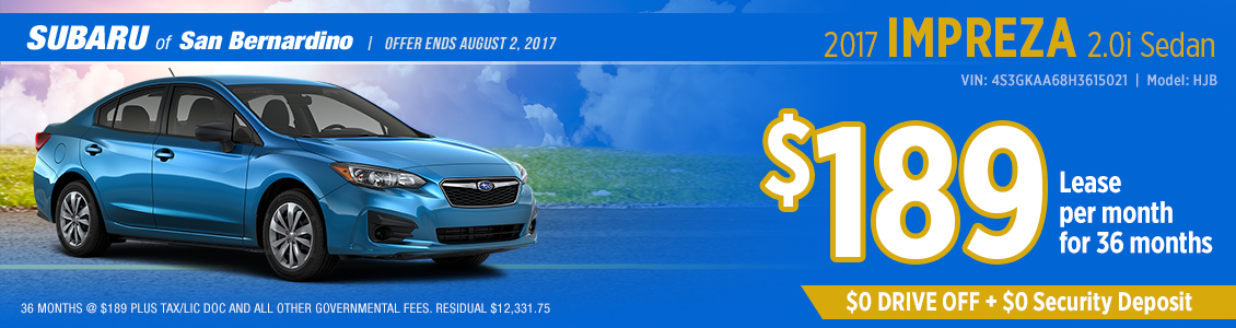 2017 Subaru Impreza 2.0i Sedan Low Payment Lease Special in San Bernardino, CA