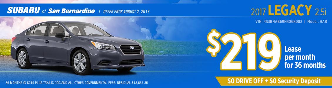 2017 Subaru Legacy 2.5i Lease Special serving Fontana, CA
