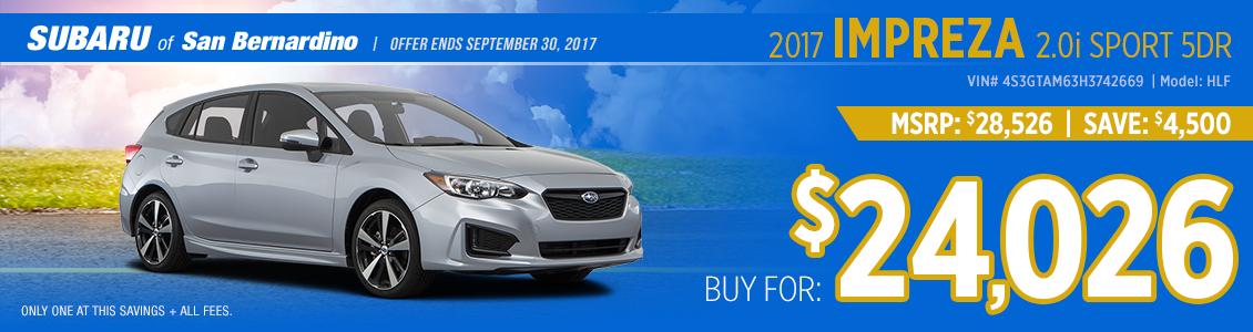 2017 Subaru Impreza 2.0i Sport Sales Special in San Bernardino, CA