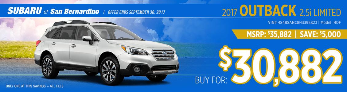 2017 Subaru Outback 2.5i Limited Sales Special in San Bernardino, CA