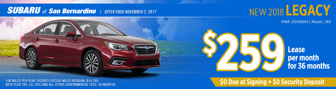 Save on your next 2018 Legacy lease at Subaru of San Bernardino