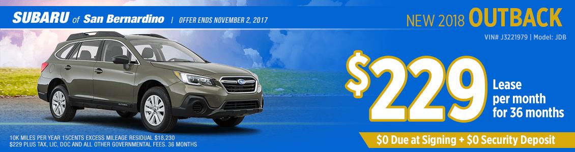 Get special savings on a 2018 Outback at Subaru of San Bernardino