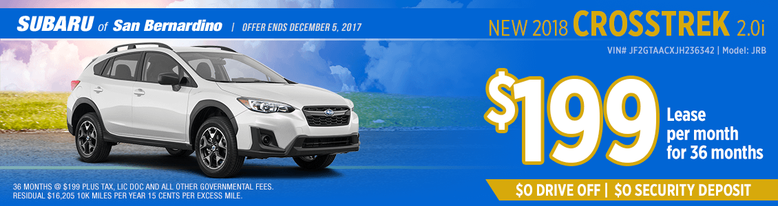 Lease a 2018 Crosstrek 2.0i for a low monthly payment at Subaru of San Bernardino
