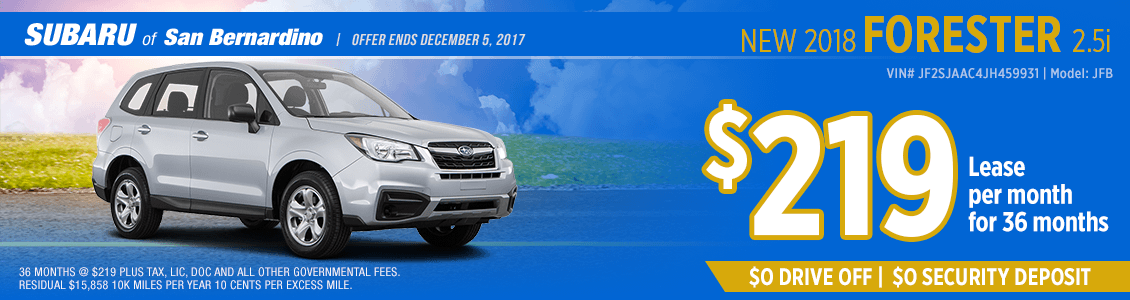 2018 Forester 2.5i low monthly lease special at Subaru of San Bernardino