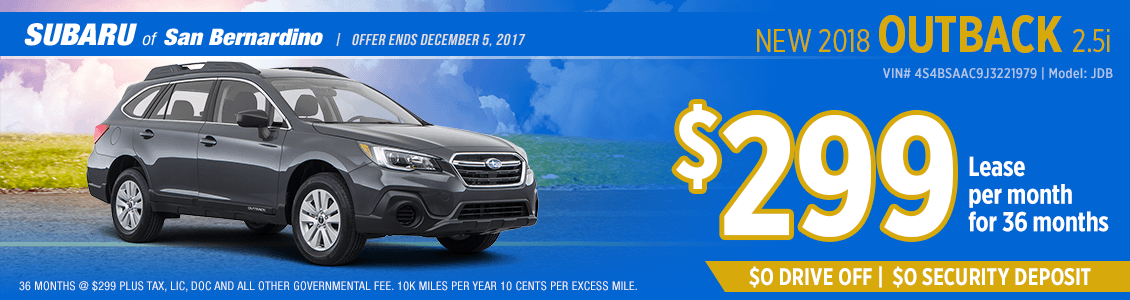 Lease a 2018 Outback 2.5i for a low monthly payment at Subaru of San Bernardino