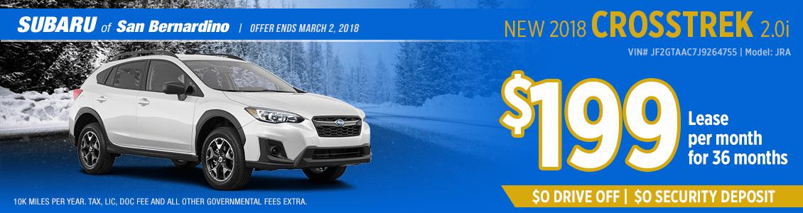 2018 Subaru Crosstrek 2.0i low payment lease special in San Bernardino, CA