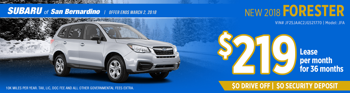 Lease a 2018 Subaru Forester for a low monthly payment in San Bernardino, CA