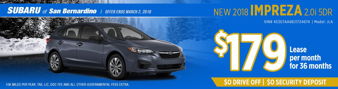 2018 Subaru Impreza 2.0i 5-Door lease special in San Bernardino, CA