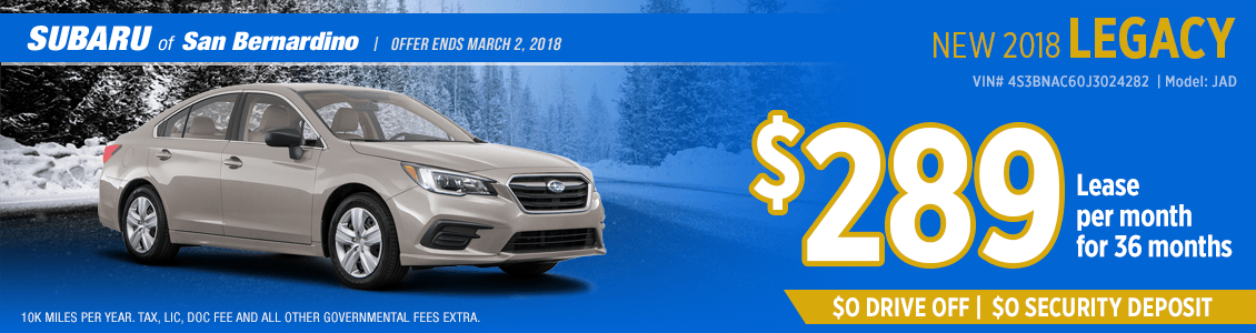 Lease a 2018 Legacy for a low monthly payment at Subaru of San Bernardino