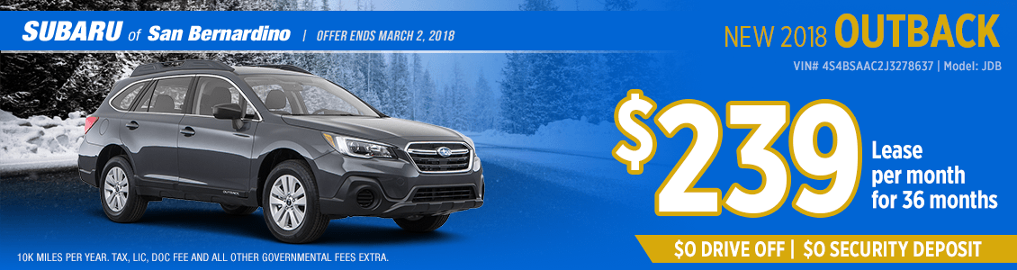 2018 Subaru Outback low monthly lease payment special in San Bernardino, CA
