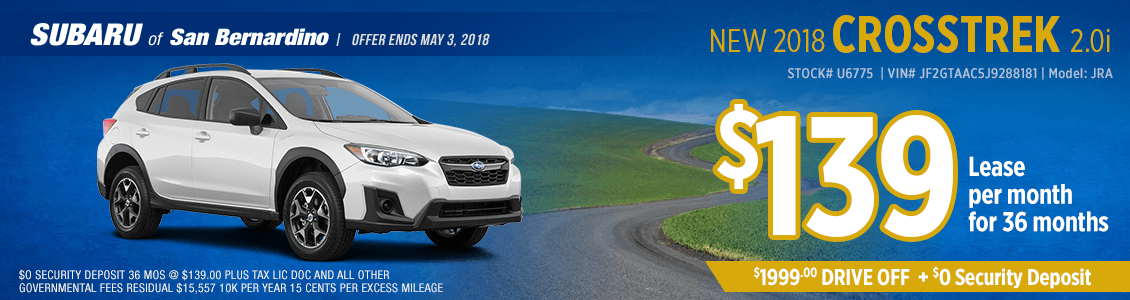New 2018 Subaru Crosstrek 2.0i low monthly lease special at Subaru of San Bernardino