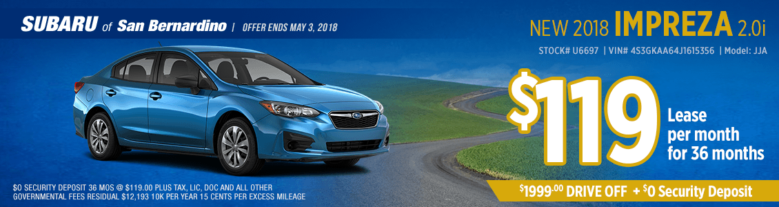 2018 Impreza 2.0i low payment lease special at Subaru of San Bernardino