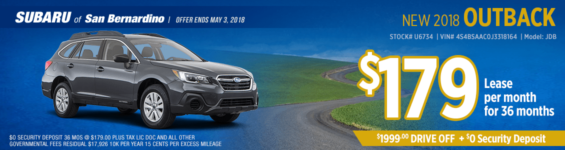 Lease a 2018 Outback for a low monthly payment at Subaru of San Bernardino