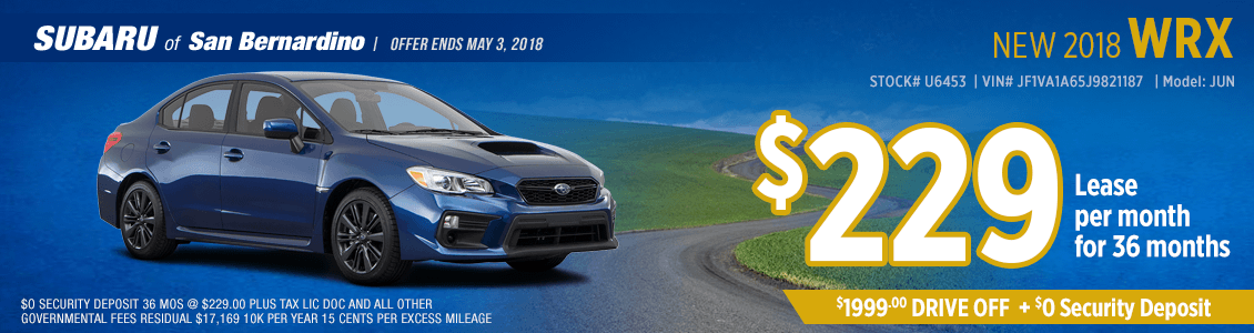 New 2018 Subaru WRX low monthly lease special at Subaru of San Bernardino