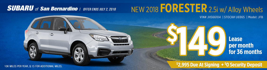 New 2018 SUBARU FORESTER 2.5i w/Alloy Wheels low monthly lease special at Subaru of San Bernardino