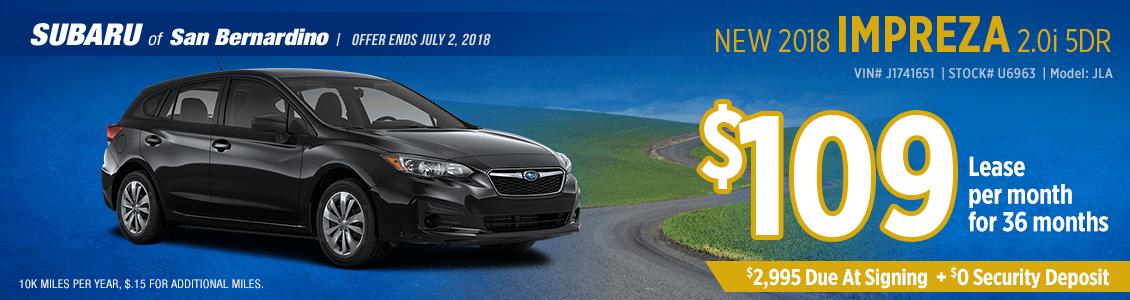 2018 SUBARU IMPREZA 2.0i low payment lease special at Subaru of San Bernardino