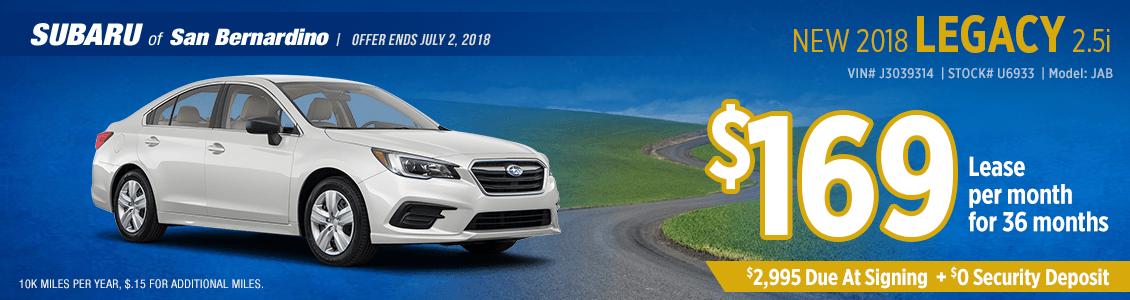 New 2018 SUBARU LEGACY 2.5i low monthly lease special at Subaru of San Bernardino