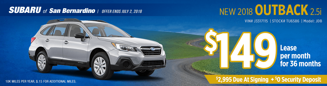 Lease a 2018 SUBARU OUTBACK 2.5i for a low monthly payment at Subaru of San Bernardino
