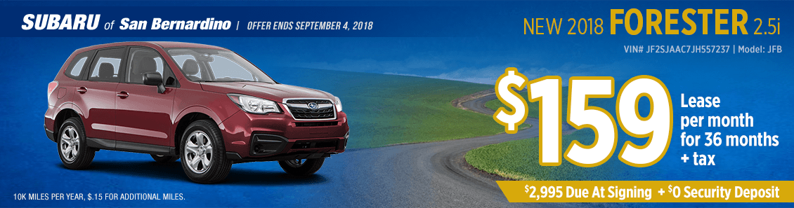 2018 Subaru Forester 2.5i low payment lease special at Subaru of San Bernardino