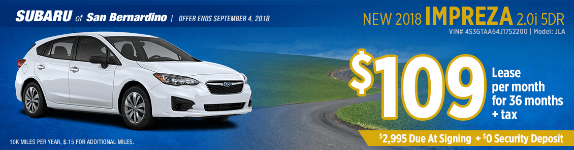 2018 Subaru Impreza 2.0i 5-Door low payment lease special at Subaru of San Bernardino