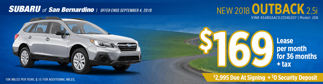 2018 Subaru Outback 2.5i lease special at Subaru of San Bernardino