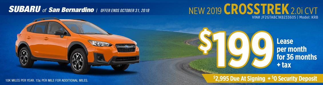 2019 Crosstrek 2.0i CVT low payment lease special at Subaru of San Bernardino
